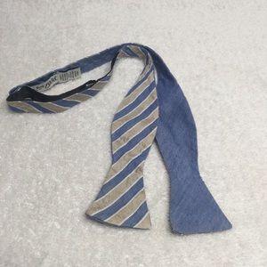 Jos. A. Bank blue striped silk & linen bow tie